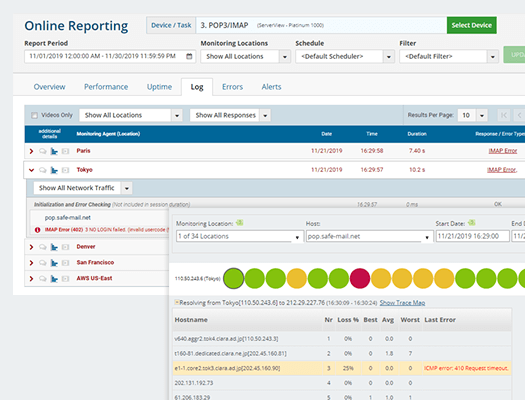 pop3 imap4 email online reporting